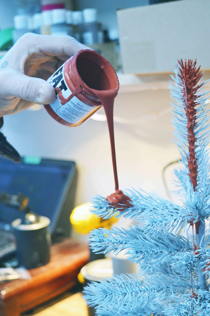 Starting the Christmas tree with traditional red