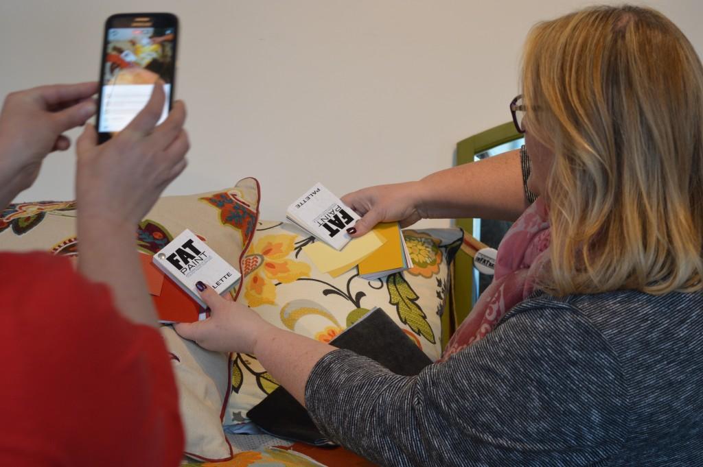 FAT Paint project: choosing a colour from pillows using TFPC's FAT Fan Decks