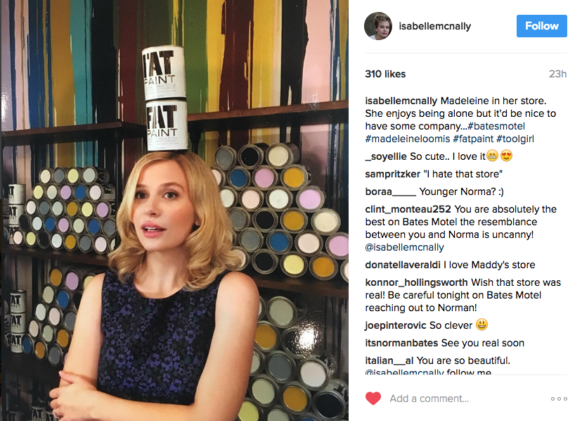 Screen shot of Isabelle McNally's Instagram feed.