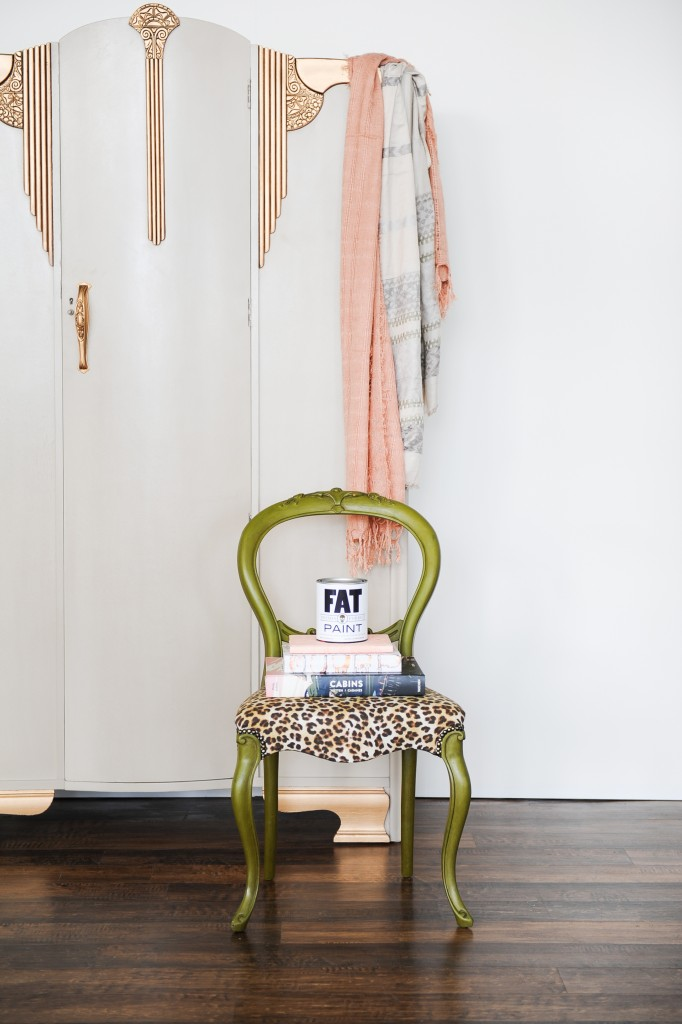 Camo chair and Couture Linen armoire