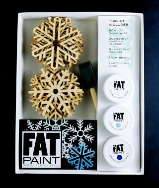 """How FUN is this? Well, a lot! A take home DIY Snowflakes Kit ❄️❄️❄️ just in time for the Holidays... Coming Soon to a FAT Paint Retailer near you. Choose from """"Icy Blues"""" or """"Frosty Greens"""" A beautiful gift or family make-together Swipe to get Inspired 💫 #FATPaintStudio #FATPaint #inFATuated❕ #chalkpainted #chalkstyle #DIYkit #funforallages #funforthewholefamily #snowflakes #diyhomedecor #becreative #doityourselfproject #paintedornaments #madeincanada #paintjoy #art #FATsnow #FATfirozi #FATcabaret #FATpistachio #FATcathedralgrove #FATretailer #anyonecandoit"""